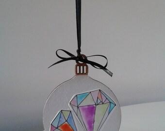 Wooden Christmas Bauble, Modern Tree Decoration, Tree Ornament, Geometric Decoration.
