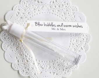 Blow Bubbles of Warm Wishes, Wedding Bubble Tags, Mr & Mrs, Wedding favors, Bubble Wand Tags