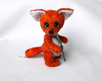Fox Teddy Fox Plush, OOAK, Collectible Toy, Toys, OOAK Plush Fox Miniature, Plush Animals Plush Toys Gift Best Friend unique gifts idea