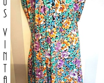 "Plus Size UK 20 Vintage 1950s-Style Floral Tea Dress Cotton Mad Men EU 48 US 16 Bust 46"" 117cm"