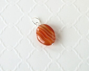 Natural Agate Pendant - Sterling Silver Dangle - Genuine Orange Banded Agate Necklace Jewelry