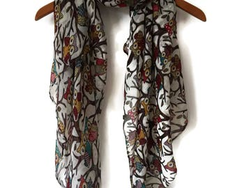 White Scarf / Spring Summer scarf / Women Scarves / Infinity Scarves / Mothers Day Gift / Mom Gift / Fashion Accessories / Gifts For Her