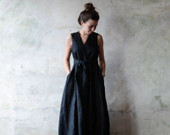 FREE SHIPPING, Womens Linen Dress, Wraparound Dress, Black Dress, Classic Dress, Summer Dress, Beach Dress, Linen Clothes, Natural Flax