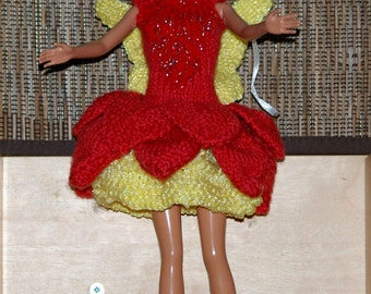 Fairy dress- Red and Yello water lily dress knitted Barbie- wings-handmade dress - Knit