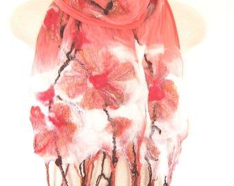 Women's Scarf, Silk Scarf Spring Scarf, Coral Pink Silk Shawl, Flower Scarf Nuno Felted Wrap, Unique Handmade Felted Clothing, Wearable Art