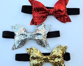 READY TO SHIP!! Christmas glitter bows, headband or clip, Red glitter bow, silver glitter bow, gold glitter bow, Christmas bows,