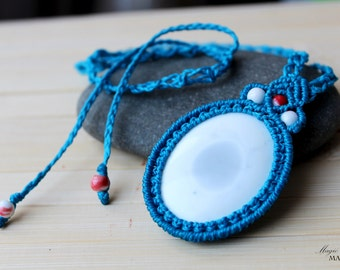 Cacholong micro macrame blue pendant| Gifts for mom| Handmade unique jewelry| Mothers Day gift| Kalmuck agate| Talisman necklace with stone