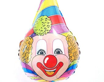"28"" Clown balloon. Cute clown. Creepy clown. Circus party. Circus decor. Clown balloon. Circus. Clown decor. Vintage clown. Balloons"