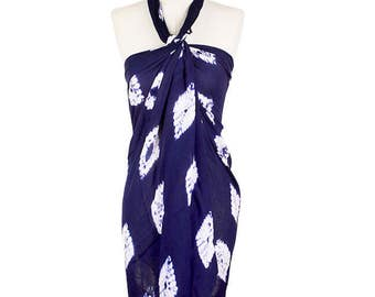 Navy Blue Tie dye long scarf / pareo / sarong / wrap / cover up / multi-way scarf