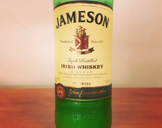 Recycled Jameson Irish Whiskey Bottle Candle