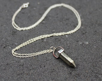 Crystal Point Necklace, Pyrite Point Necklace, Silver and Pyrite Necklace