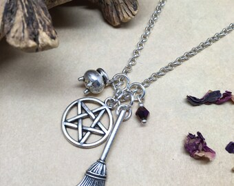 The white Witch - pagan inspired charm necklace.
