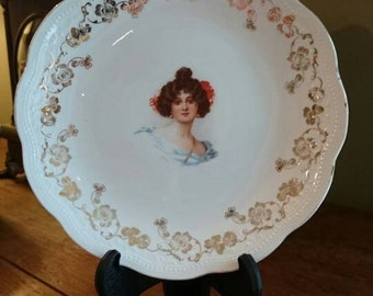 Antique Lady Plate/ Gold Floral Design/ Colonial/Victorian