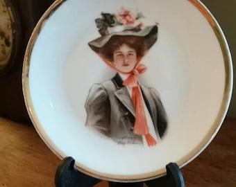 Antique Edwardian Decorative Plate/Bavaria Z.S. & Co/Gibson Girl/Philip Boileau/1907/Cabinet Plate