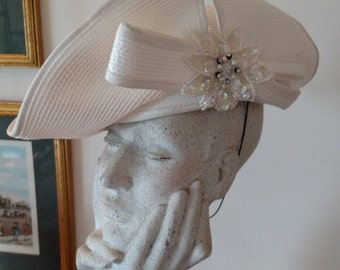 Deborah New York White Straw Upturned Brim Lady's Hat with Grosgrain Ribbon Soutache and Sequin Embellishment/ Church Hat/ Wedding Hat