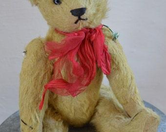 Sweet Antique Teddy Bear, Mohair, Wood Wool Stuffed