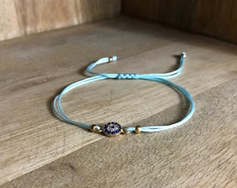Blue Sky string Bracelet with evil eye
