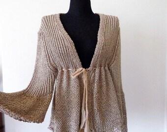Womens Cardigan, Beige Silk Cardigan, Elisa Cavaletti Cardigan, Knit Cardigan, Italian Top, Size XL