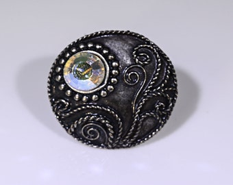 Blackened Silver Adjustable Ring with Swarovski Crystal