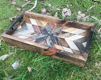 Rustic Geometric Wood Pattern Tray