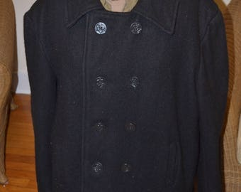 Wool Navy Pea Coat - Size 44 Large