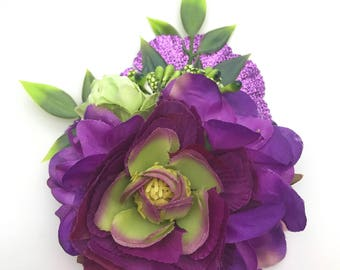 Handmade Purple Glitter Flower & Green Bud Hair Clip