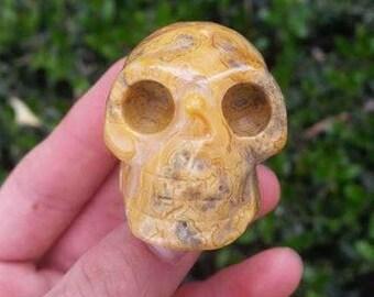 "Rare Ocean Jasper Skull 1.5"" ~Animal Kingdom~Shamanism ~ Talisman~ Stunning~ Astral Travel ~ Grounding ~ Confidence ~ Travel ~~Collection"
