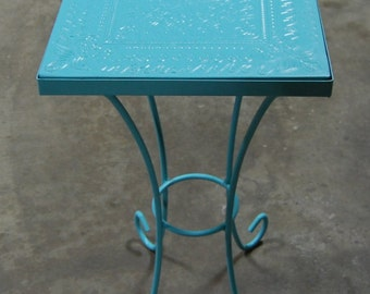 Metal Plant Stand Painted Blue