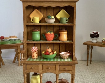 ON SALE Country Hutch in Greens, Yellows and Reds for 1:12 Scale Dollhouse
