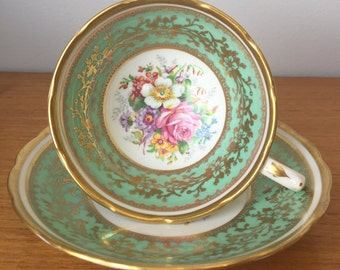 Grosvenor Vintage Teacup and Saucer, Green and Gold Tea Cup and Saucer, Floral Bone China