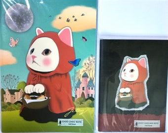 Rare Jetoy Choo Choo Cat Red Riding Hood Set: A5 and A6 Notebooks