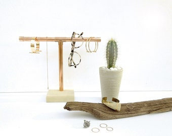 Copper Pipe Jewelry Display - Short