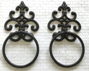 On Sale/Cast Iron Towel Hanger/Fleur de Lis Towel Ring/Heavy Cast Iron Towel Hook / Shabby Chic/Bathroom Accessory/Metal Towel Hook