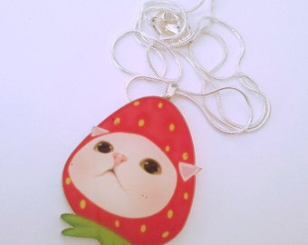 Strawberry cat in a hat silver necklace