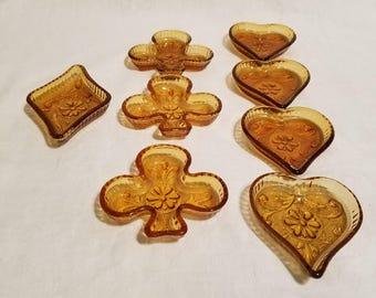 AMBER INDIANA BRIDGE Tiara Sandwich Glass Heart Club Spade Diamond Mint Peanut Candy Ashtray Dishes