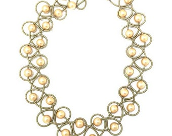 Gold Fresh Water Pearl Gold Piano Wire Netting Necklace
