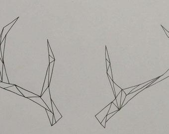 Deer Antler Line Drawing