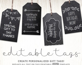 Chalkboard editable gift tags, blackboard, text editable, rustic gift labels, hang tags, chalk, party printable, digital template PDF