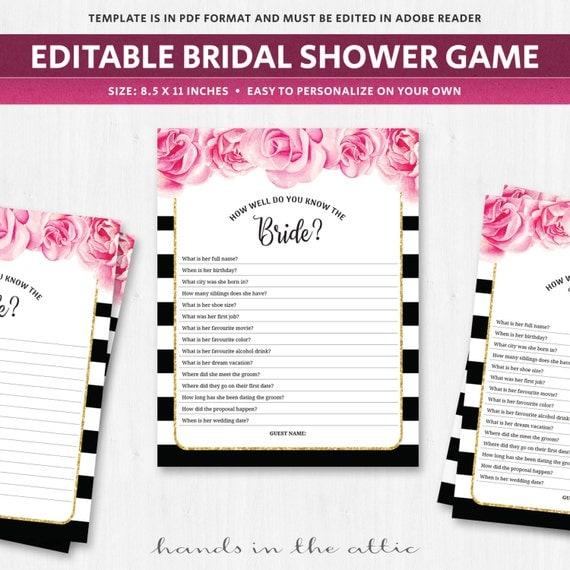 Know the bride shower game template quiz questionnaire bachelorette il570xn maxwellsz