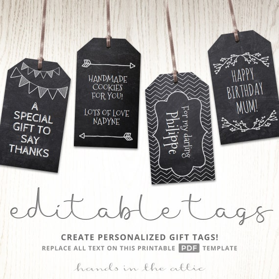Chalkboard Editable Gift Tags Blackboard Text Editable