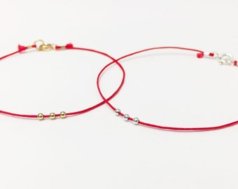RED STRING of FATE, Anniversary Gift, Valentines Day Gift, Red String bracelet, Boyfriend Girlfriend Gift, Couples Bracelet Set Couples Gift