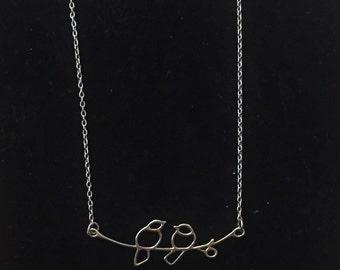 Stunning sterling silver lovebirds pendant necklace