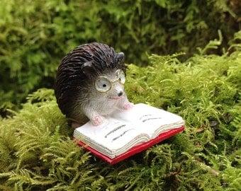 Hedgehog miniature figurine hedgie reading a book dollhouse fairy garden