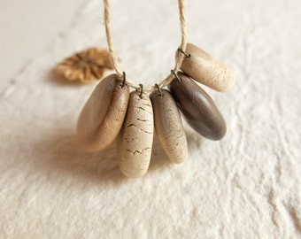 small smoke fired ceramic beads, drop beads, handmade