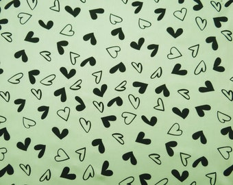 "Dress Fabric, Heart Print, Green Fabric, Sewing Accessories, Upholstery Fabric, 43"" Inch Rayon Fabric By The Yard ZBR297A"