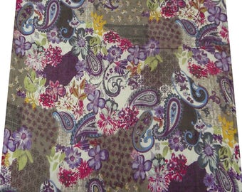 "Floral Chiffon Fabric, Multicolor Fabric, Paisley Print, Chiffon Dress, 38"" Inch Apparel Fabric By The Yard ZBCH30"