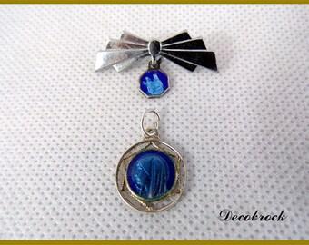 Lot 1 pin and 1 medal vintage blue enamel front and back Virgin Mary vintage France gift baptism communion