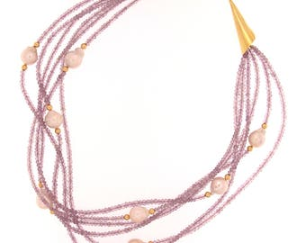 Pink Amethyst and Fresh Water Pearl Multi Strand Necklace with 24K Vermeil Clasp