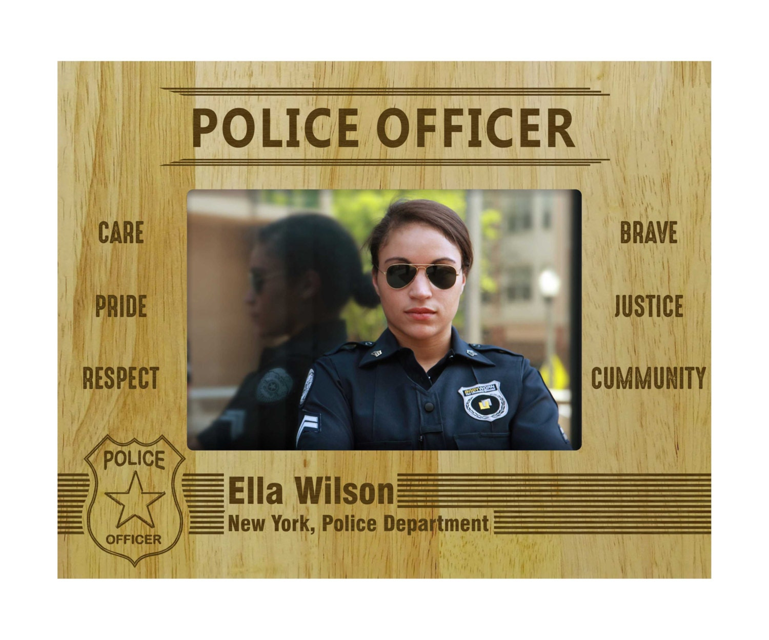 Personalized police officer frames wood engraved picture frame 2299 jeuxipadfo Choice Image