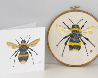 Bumble Bee Embroidered Art Picture / Hoop with Matching Card / Bee Art / Art Picture / Wall Picture